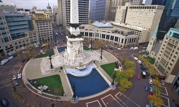 Monument Circle in Indianapolis, Indiana.