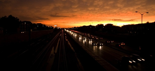 The Eisenhower Expressway passes through Oak Park, Illinois