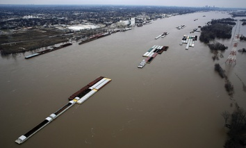 The flooded Mississippi RIver, south of St. Louis, seen on Dec. 31.