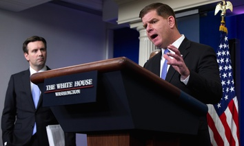 Boston Mayor Martin Walsh speaks about a variety of topics affecting U.S. cities, during the daily news briefing Thursday at the White House in Washington D.C.