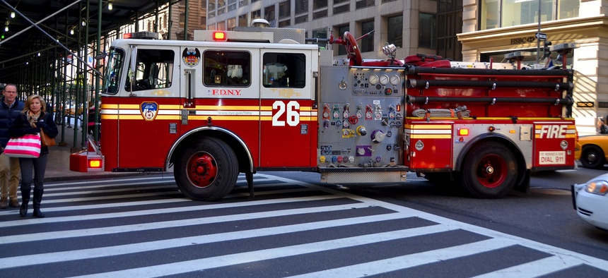 A firetruck in New York City.