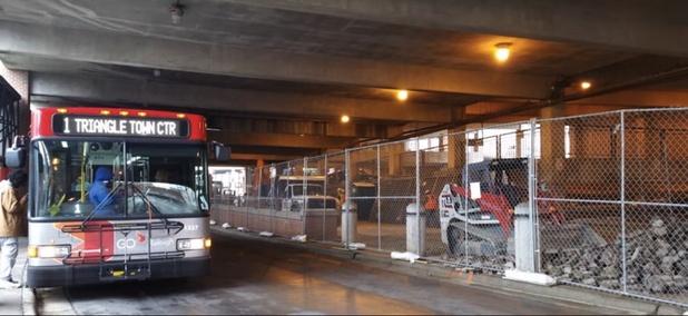 GoRaleigh Station under renovation.