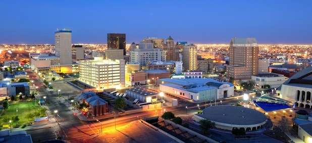 A skyline view of El Paso, Texas. Some 22 miles east of the city, 2,400 families live without access to basic public services.
