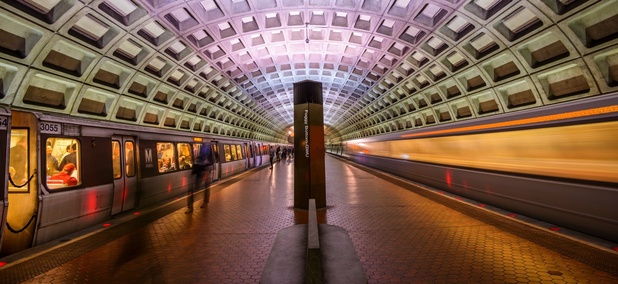 An underground Metrorail station in Washington, D.C.