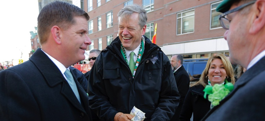 Mayor Marty Walsh and Mass. Gov. Charlie Baker on Sunday at the St. Patrick's Day Parade in Boston.