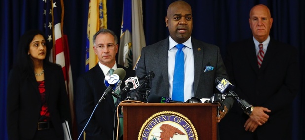 Newark Mayor Ras Baraka speaks during a news conference on the city's police settlement with the U.S. Department of Justice.