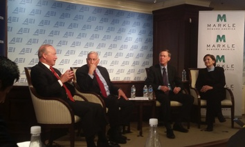From left to right: Purdue President and former Indiana Gov. Mitch Daniels, Aspen Institute President and CEO Walter Isaacson, Colorado Gov. John Hickenlooper, and Markle Foundation President and CEO Zoë Baird.