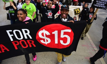 A demonstration in favor of the $15 minimum wage in New York City.