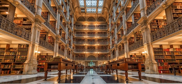 The Peabody Library in Baltimore, Maryland