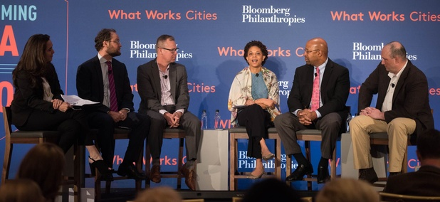 A panel discussion at What Works Cities summit in New York City on Tuesday.