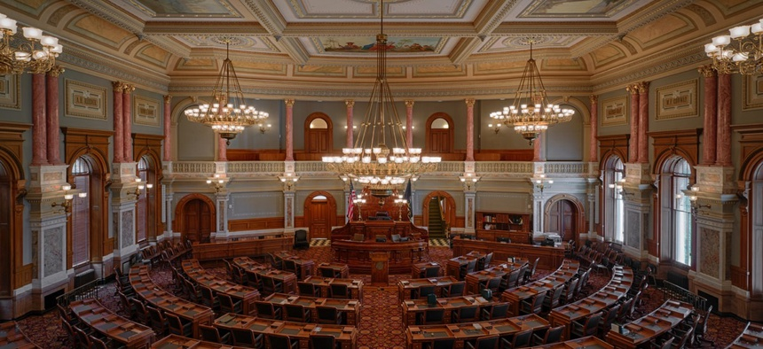 House of Representatives chamber of the Kansas State Capitol building.