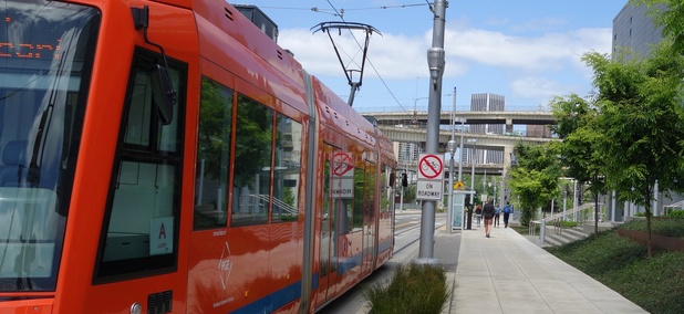 A streetcar vehicle in Portland, Oregon.
