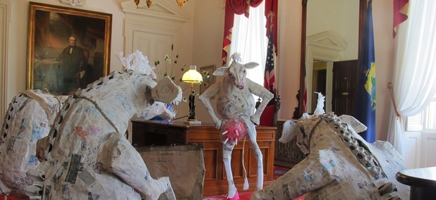 A portion of an art display by Katie Hunt, wife of Vermont Gov. Peter Shumlin, which she says is a satire of their lives and now sits in his office.
