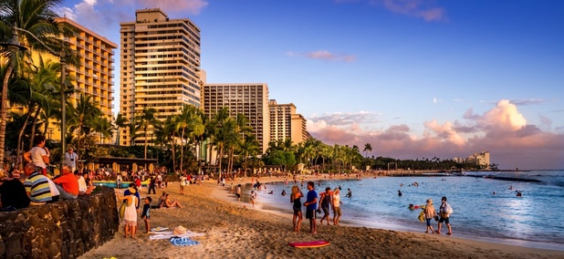 Waikiki Beach in Honolulu, Hawaii.