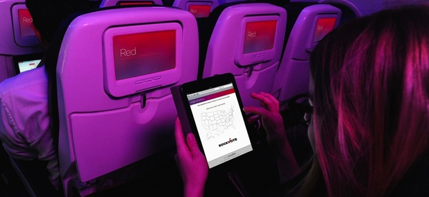 A Virgin America flyer uses Rock the Vote's platform to register to vote.