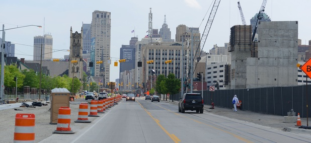 Woodward Avenue, looking toward downtown Detroit, in May.