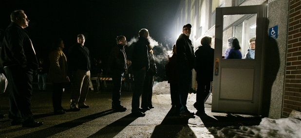 Voters line up to vote in New Hampshire.