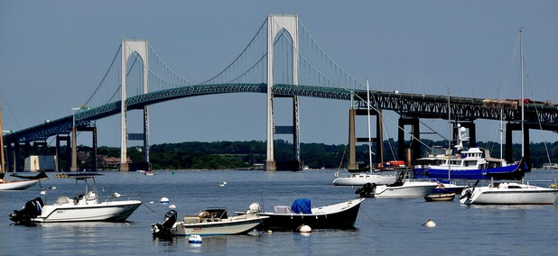 The Claiborne Pell Newport Bridge crosses the eastern passage of Narragansett Bay near Newport, Rhode Island.