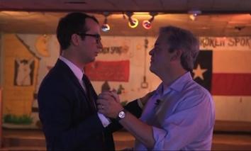Austin Mayor Steve Adler, right, two-steps with The CW Austin's entertainment reporter Joe Barlow, left.