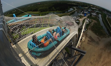 "The world's tallest water slide, ""Verruckt"", at Schlitterbahn Waterpark in Kansas City, Kan."