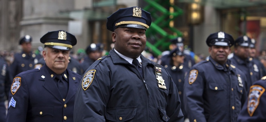 Police officers in New York City, New York.