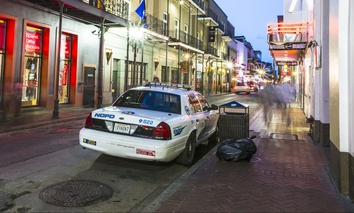 A New Orleans police cruiser in the French Quarter.