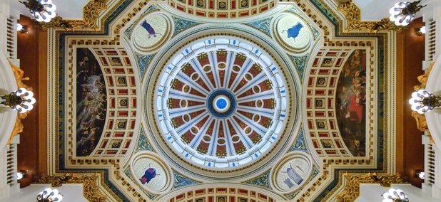 The rotunda in the Pennsylvania State Capitol building.