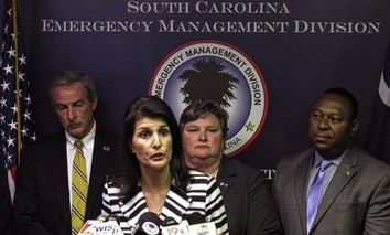 Gov. Nikki Haley announces that she plans to call for the evacuation of about 1 million people from South Carolina's coast as Hurricane Matthew threatens on Tuesday, Oct. 4, 2016.