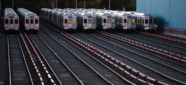 Market-Frankford line trains remain idle at a Southeastern Pennsylvania Transportation Authority (SEPTA) station just outside Philadelphia on Tuesday.