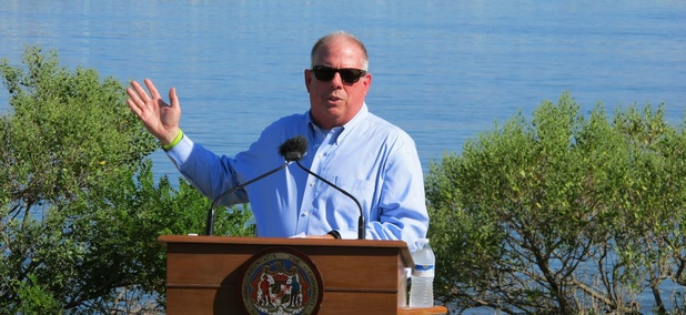 Gov. Larry Hogan speaks at a news conference on Tuesday, Aug. 30, 2016 near Annapolis, Md.