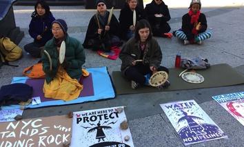 Dakota Access Pipeline protestors in New York City in December.