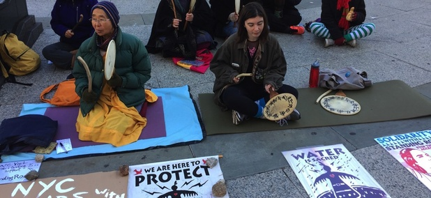 Dakota Access Pipeline protestors in New York City in December.