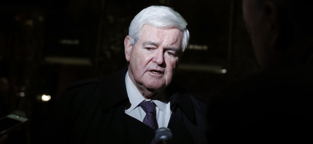 Former House Speaker Newt Gingrich speaks to the media at Trump Tower, Monday, Nov. 21, 2016 in New York.