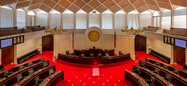 The senate chamber of the North Carolina State House.