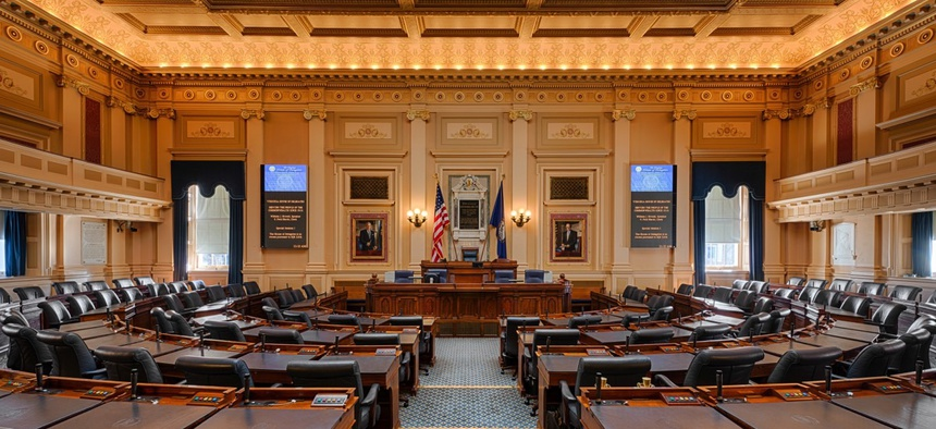 The House of Representatives chamber in the Virginia State Capitol.