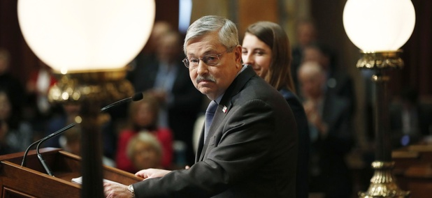 Iowa Gov. Terry Branstad delivers his annual condition of the state address before a joint session of the Iowa Legislature, Tuesday, Jan. 10, 2017, at the Statehouse in Des Moines, Iowa.