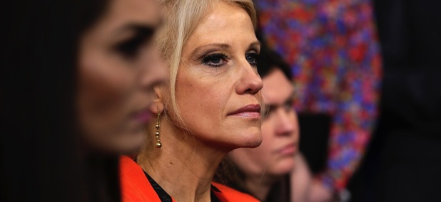 Counselor to President Kellyanne Conway listens during the daily White House briefing.