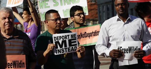 Supporters of detained 19-year-old Wildin Acosta participate in an immigration rally in Durham, North Carolina in 2016.