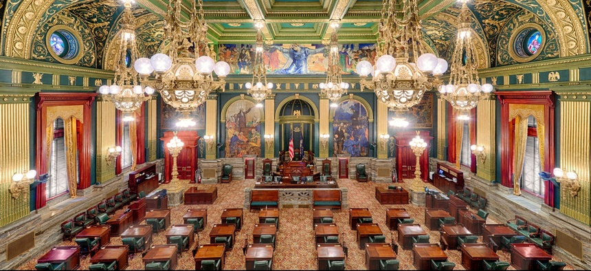 The Pennsylvania Senate Chamber at the State Capitol in Harrisburg.