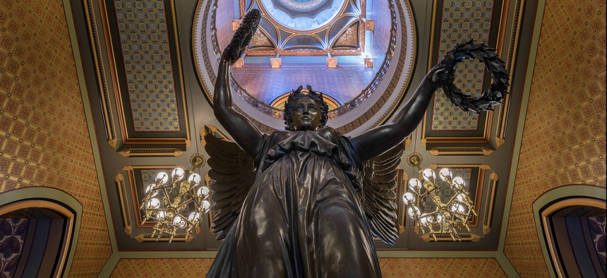 """The """"Genius of Connecticut"""" in the Connecticut State Capitol."""