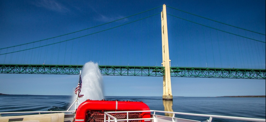 The Mackinac Bridge connects Michigan's upper and lower peninsulas.