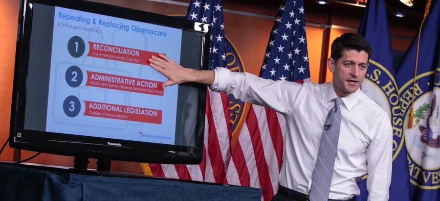 Paul Ryan gives a Powerpoint presentation on the American Health Care Act.