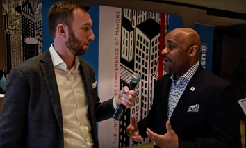 Route Fifty's Mitch Herckis interviews Denver Mayor Michael Hancock in Austin.