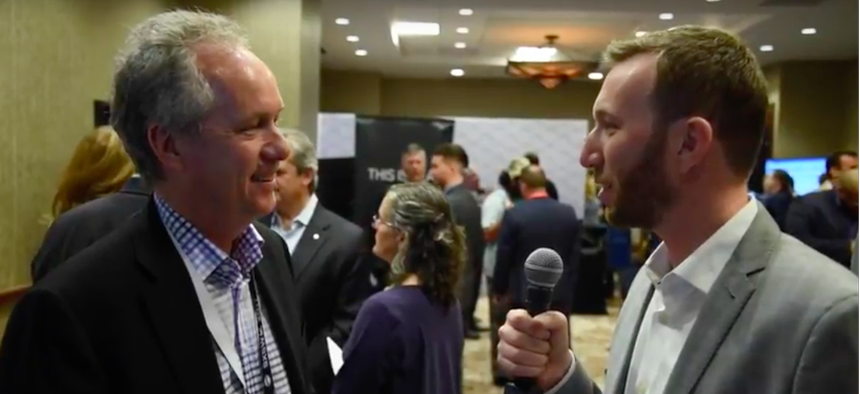 Route Fifty's Mitch Herckis interviews Louisville Mayor Greg Fischer in Austin.