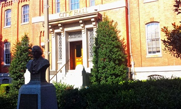 The Roger B. Taney bust, as seen outside Frederick City Hall, in August 2015.