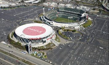 The Oakland Coliseum, at top.