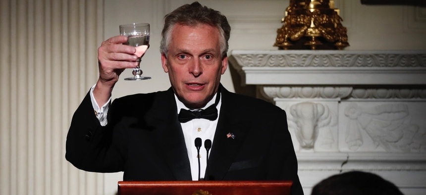 Virginia Gov. Terry McAuliffe makes a toast during a dinner reception for the annual National Governors Association winter meeting Feb. 26 at the State Dining Room of the White House in Washington, D.C.