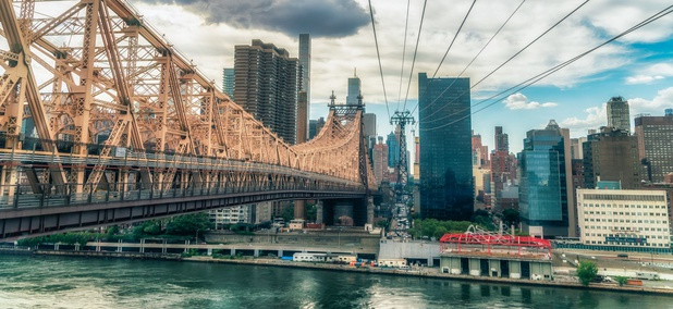 The Ed Koch Queensborough Bridge connects midtown Manhattan with Queens.