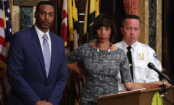 Interim City Solicitor David Ralph, Baltimore Mayor Catherine Pugh and Baltimore Police Department Commissioner Kevin Davis answer questions on the U.S. Department of Justice's request for a continuance on a consent decree hearing.