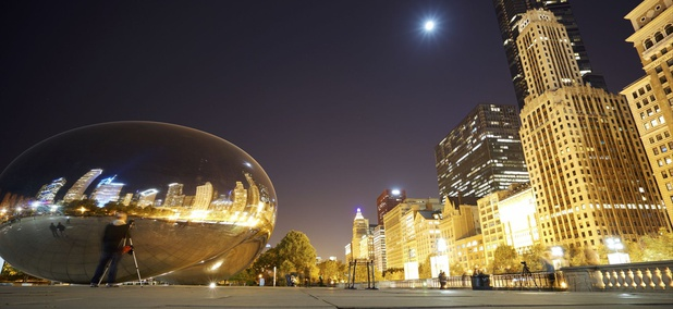 Cloud Gate, near Michigan Avenue in Chicago.